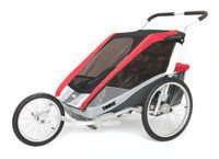 Thule Chariot Cougar 2 Red jogger + bicycle kit