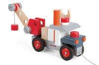 Janod - Ciężarówka z dźwigiem do składania drewniana duża