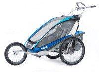 THULE Chariot CX2 niebieski,  podwójny wózek do biegania + zestaw rowerowy