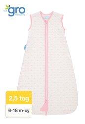 Gro Company - Śpiworek Grobag Pink Hearts grubość 2,5 tog Jacquard,  6-18 miesięcy