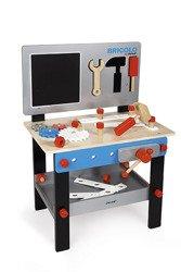 Janod - Stolik warsztat drewniany magnetyczny z 24 elementami Bricolo