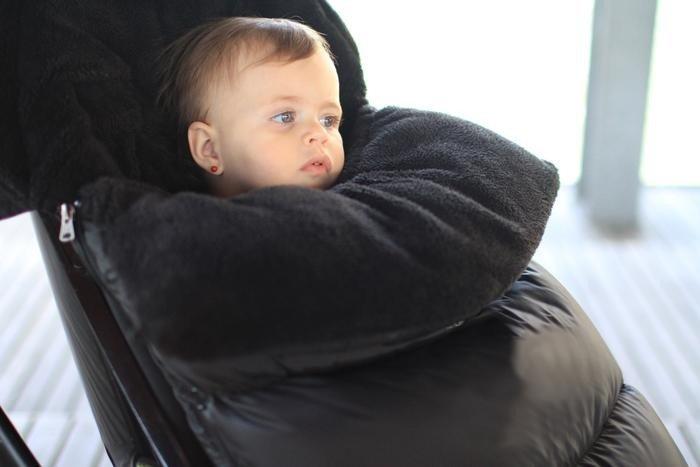 7AM - Śpiworek do wózka i fotelika samochodowego PlushPOD Black Plush M/L