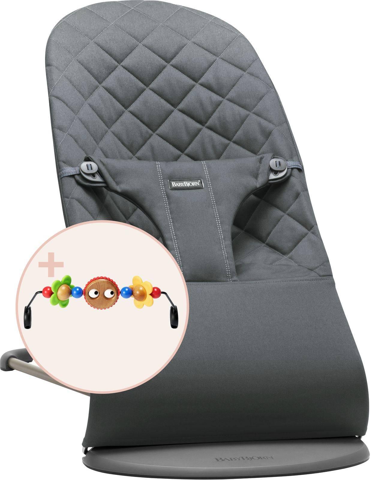 BABYBJORN - leżaczek BLISS - Antracytowy + Zabawka