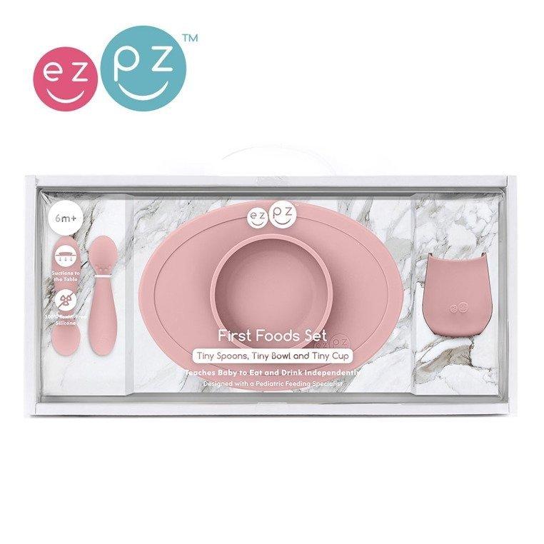 EZPZ - Komplet pierwszych naczyń silikonowych First Foods Set, pastelowy róż