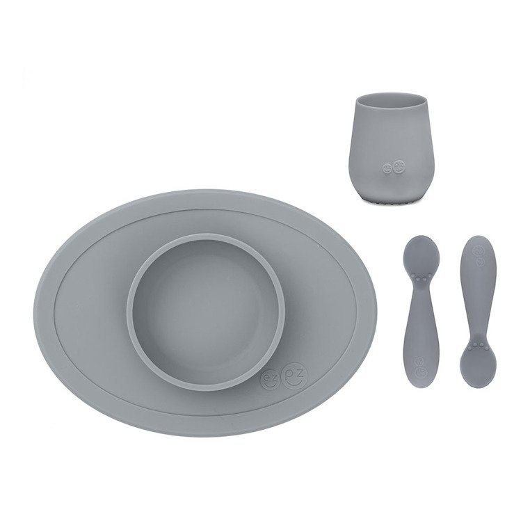EZPZ - Komplet pierwszych naczyń silikonowych First Foods Set, szary