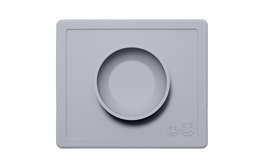 EZPZ - Silikonowa miseczka z podkładką 2w1 Happy Bowl pastelowy szary