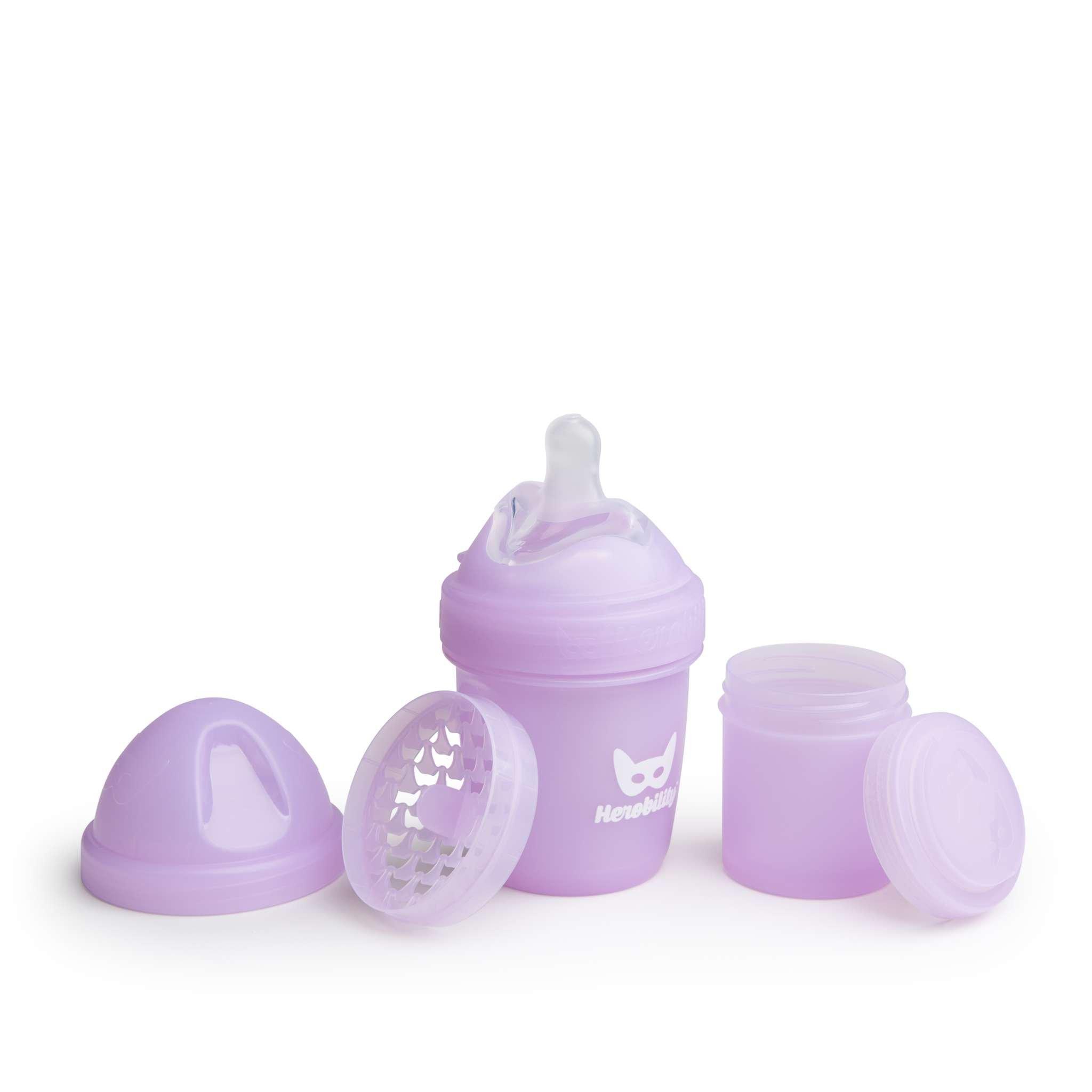 Herobility - butelka antykolkowa Herobottle 140 ml, fioletowa + smoczek S (0 m+)