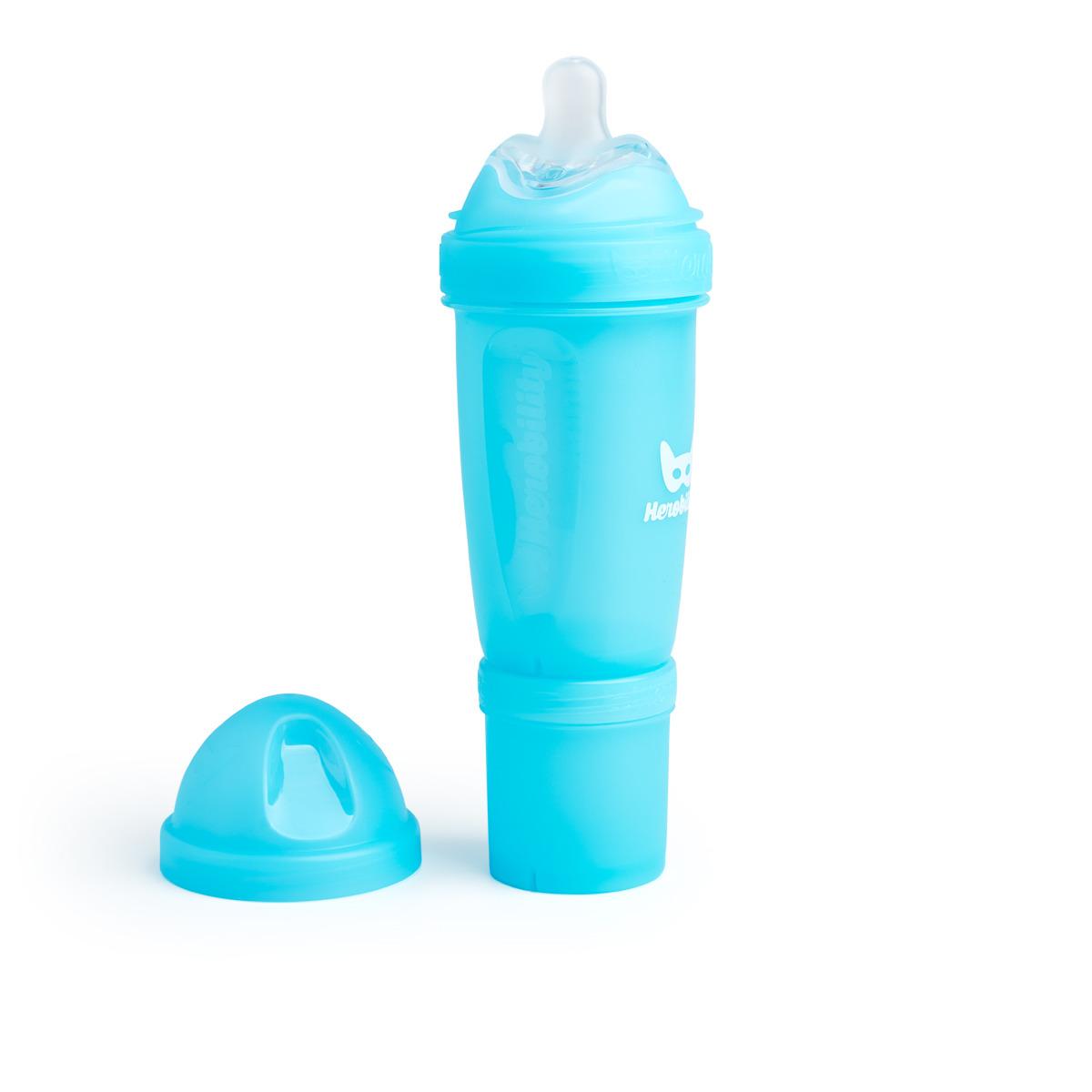 Herobility - butelka antykolkowa Herobottle 240 ml, niebieska + smoczek M (2 m+)
