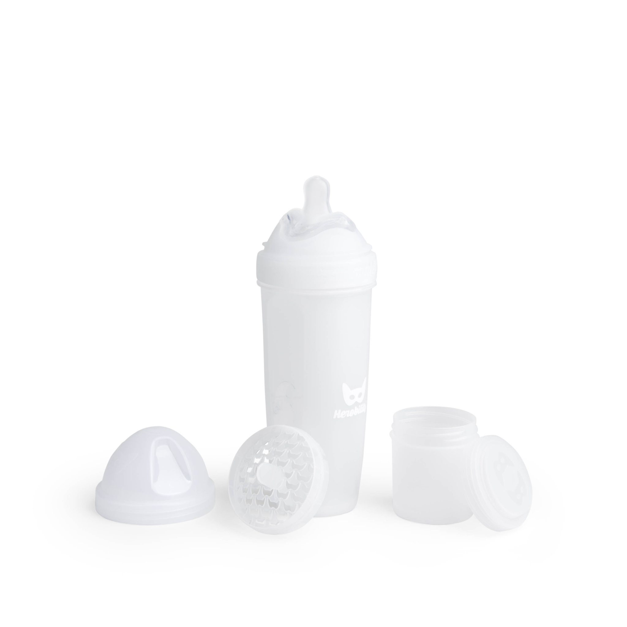 Herobility - butelka antykolkowa Herobottle 340 ml, biała + smoczek L (4 m+)