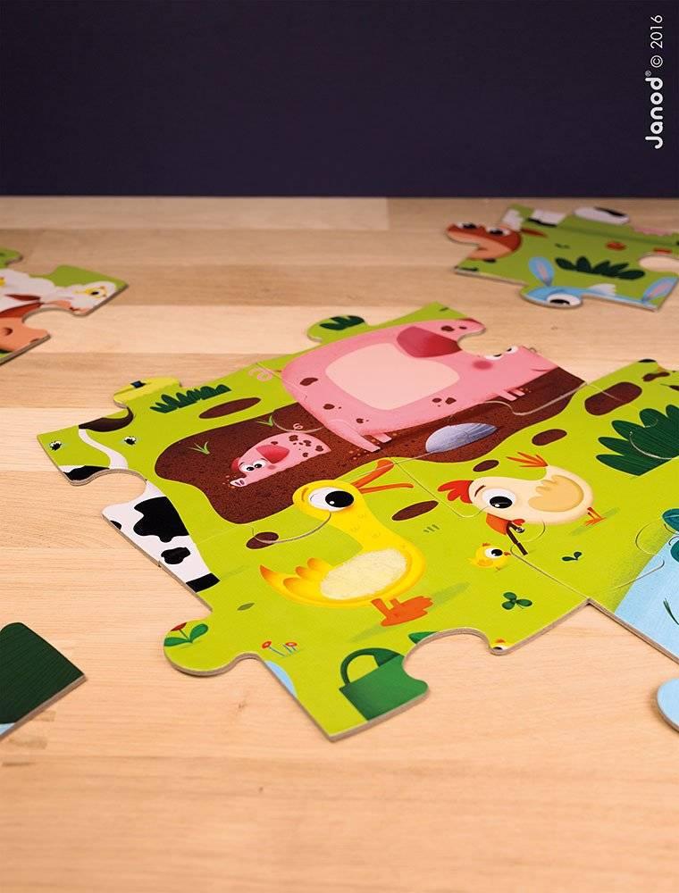 Janod - Puzzle sensoryczne 20 elementów Farma