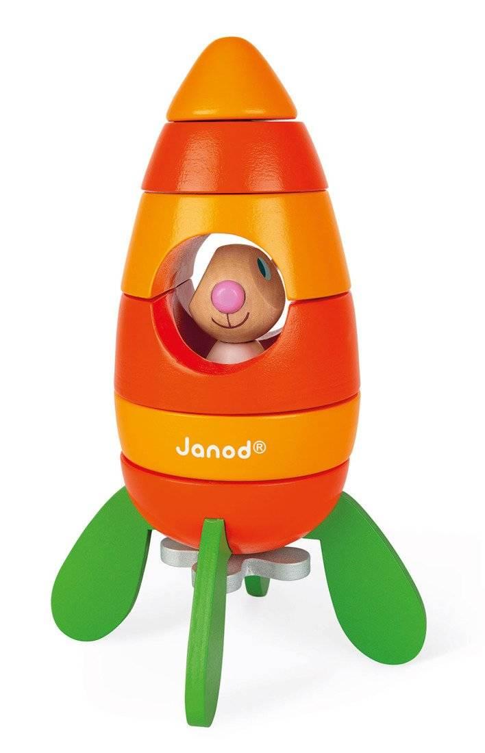 Janod - Rakieta drewniana magnetyczna marchewka z Królikiem