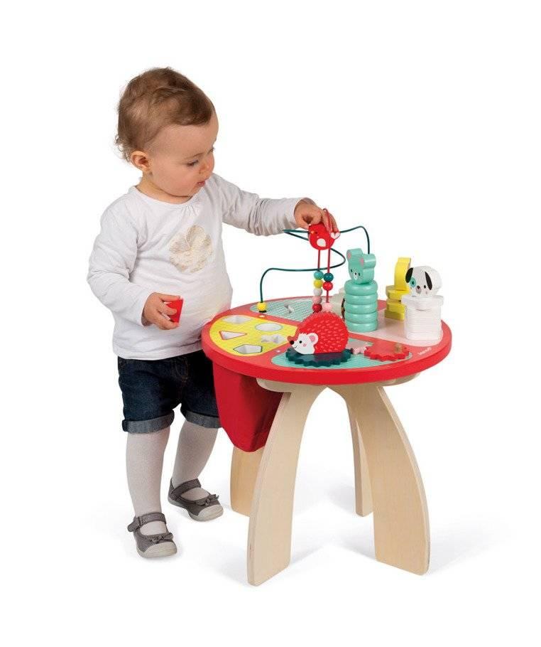 Janod - Stolik edukacyjny duży drewniany Baby Forest