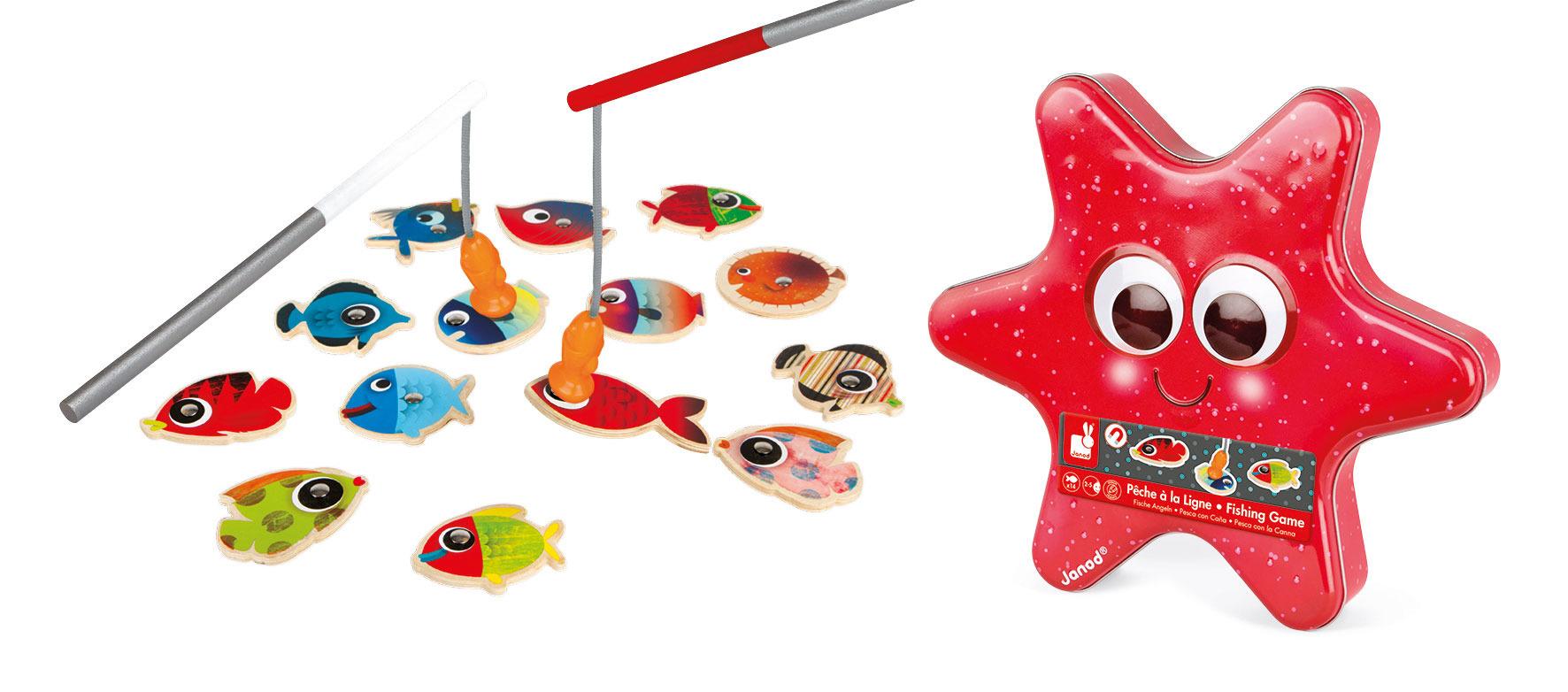 Janod - Zestaw do łowienia magnetyczny drewniany 14 rybek Rozgwiazda