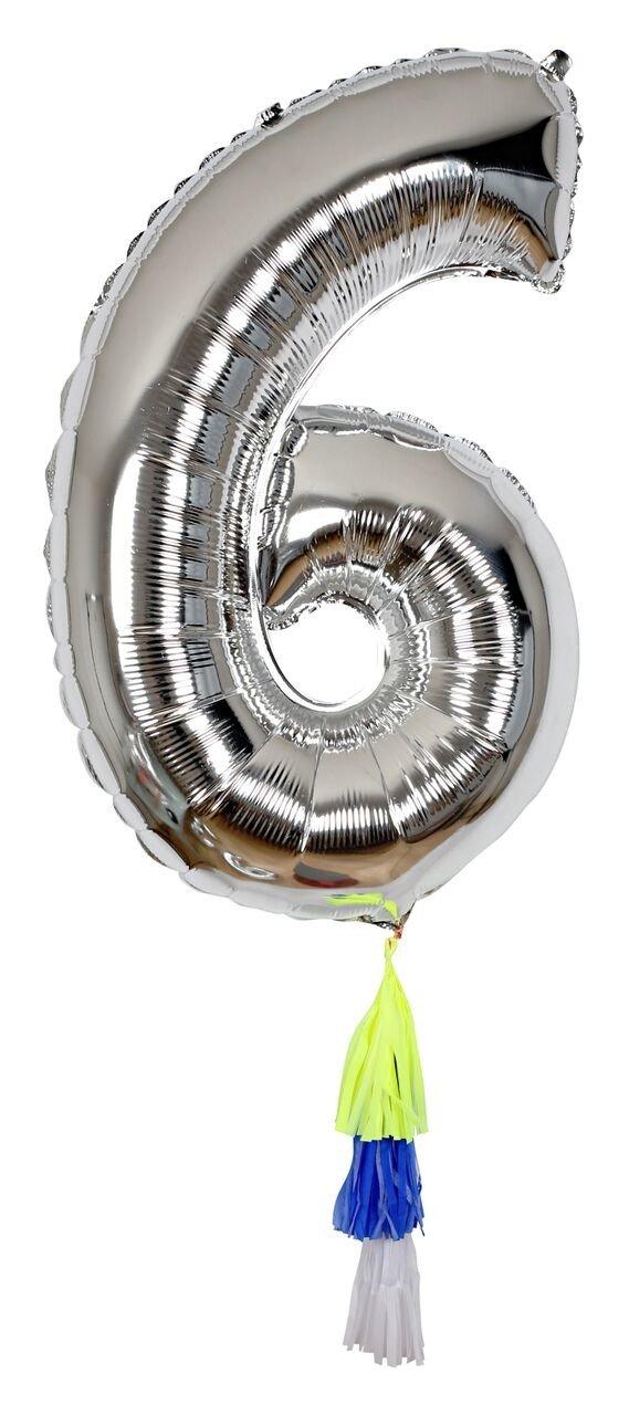 Meri Meri – Balon Cyfra 6 Srebrny