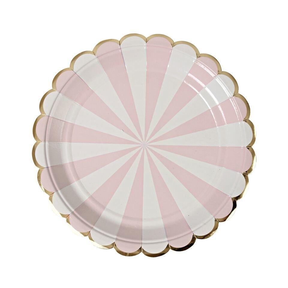 Meri Meri – Małe talerzyki Paski różowe