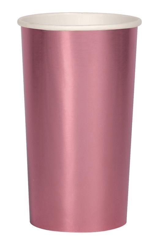 Meri Meri - Wysokie kubeczki Połyskujące różowe
