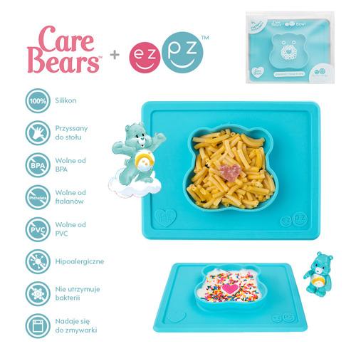 EZPZ - Silikonowa miseczka z podkładką 2w1 Care Bears™ Bowl Misia Życzliwe Serce Wish Bear, turkusowa