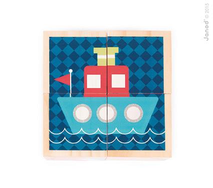Janod - Klocki drewniane Puzzle 6w1 Pierwsze słowa