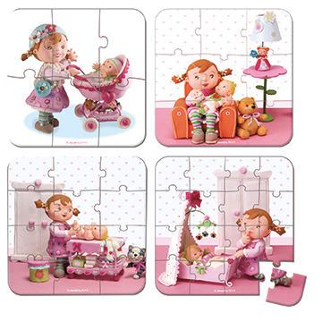 Janod - Puzzle 4w1 Lila bawi się lalką