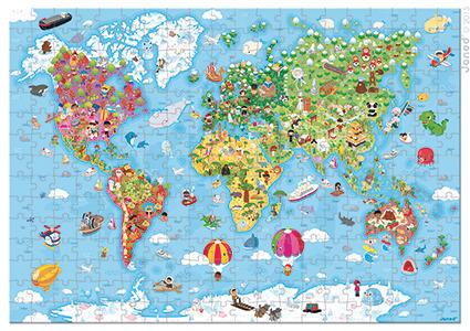 Janod - Puzzle w walizce Mapa Świata 300 elementów