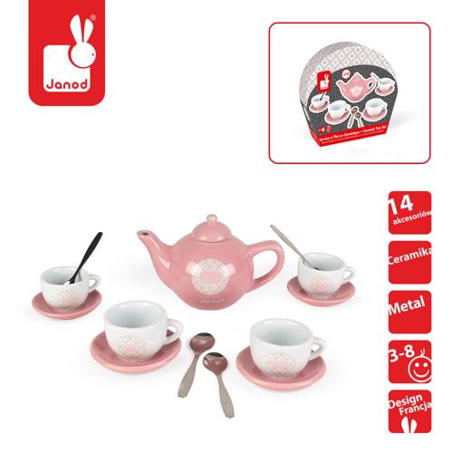 Janod - Serwis do herbaty 14 elementów Macaron