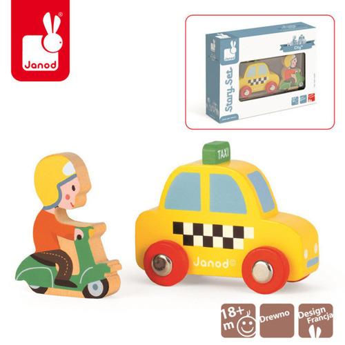 Janod - Taksówka i skuter zestaw drewniany