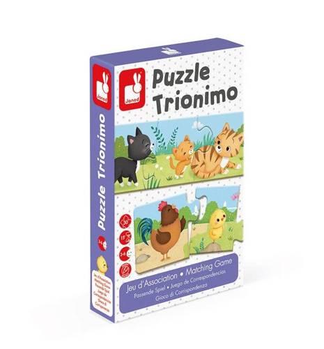 Janod - Trzyczęściowe puzzle Zwierzęta i ich dzieci, 30 elementów