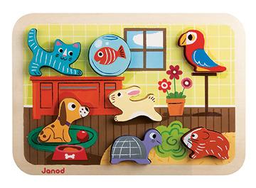 Janod - Układanka drewniana 3D Zwierzątka