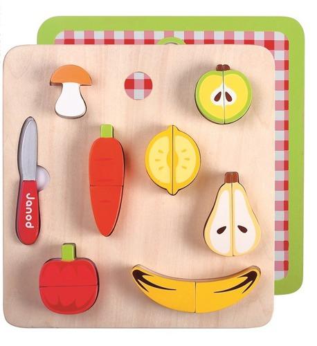 Janod - Warzywa i owoce zestaw do krojenia drewniany magnetyczny