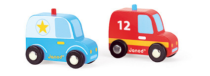Janod - Wóz strażacki i policyjny zestaw drewniany