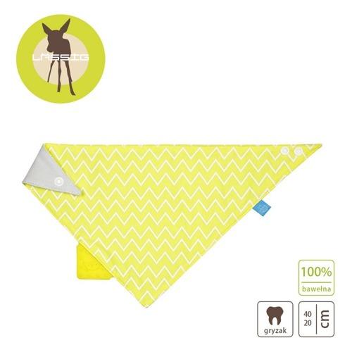 Lassig - Apaszka z Silikonowym Gryzakiem Zigzac yellow