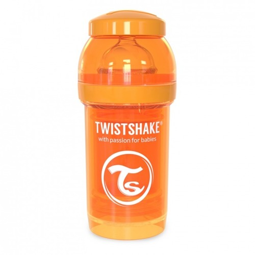 Twistshake - Antykolkowa butelka do karmienia, pomarańczowa 180ml