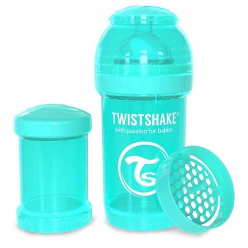 Twistshake - Antykolkowa butelka do karmienia, turkusowa 180ml