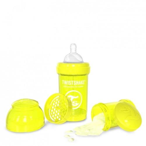 Twistshake - Antykolkowa butelka do karmienia, żółta 180ml