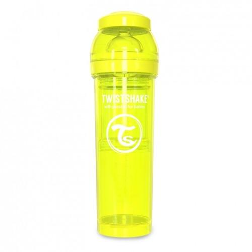 Twistshake - Antykolkowa butelka do karmienia, żółta 330ml